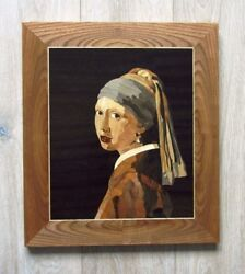 Johannes Vermeer Girl With A Pearl Earring Wood Mosaic Art Marquetry Inlay