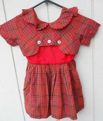 Vintage 1960's Girl's Red Plaid Cotton Short Sleeve Dress Size 3-4 Has No Label