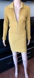 Azzedine Alaia Vintage Rib Knit Sexy Skirt and Jacket Top 2 Piece Set Skirt Suit