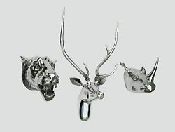 Large Metal Wall Mounted Stag Head With Lion And Rhino Head Deer Antelope