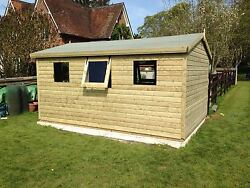15and039x10and039 Tanalised 19mm Tandg Shiplap Shed Heavy Duty Apex Roof+1 X Opening Window