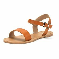 DREAM PAIRS Women's Cute Open Toes  Ankle Strap Flexible Summer Flat Sandals New $14.71