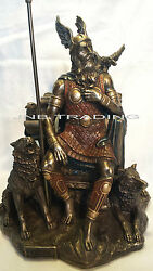 New Norse God Odin Sitting With Wolves And Crows Statue Figures Sculpture Bronze