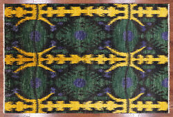 Ikat Hand Knotted Wool Area Rug 6' 1 X 9' 1- P6076