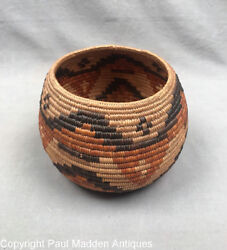 Antique California Mission Indian Basket - Cahuilla Band Of Indians