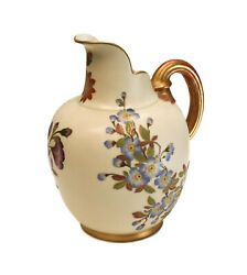 Royal Worcester Porcelain Hand Painted Blush Ivory Floral And Gilt 8 Pitcher 1888