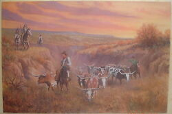 LISTED WEST TEXAS LANDSCAPE ARTIST Herb McKinley LONGHORN CATTLE INDIAN PAINTING