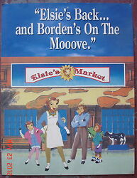 Vintage Texas Estate Sign Bordens Milk Elsie Cow Poster Grocery Store Display