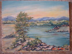 Vintage West Texas Artist Unsigned Listed Schofield Oil Painting Impressionist