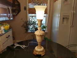Gorgeous 1930s Carved Stonetorch Table Lamp Signed And Numbered