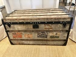 Rare Original Antique Louis Vuitton Steamer Trunk 1870 Grey Trianon LV Paris
