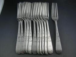 12 Coin Silver S Kirk And Son 7 5/8 Dinner Size Forks Mayflower 1846 10.15 Mark
