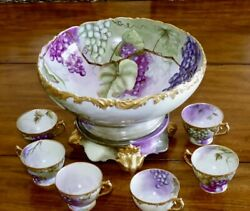Limoges Punch Bowl Cups, Each And Every Piece Is Artist Signed Statement Piece