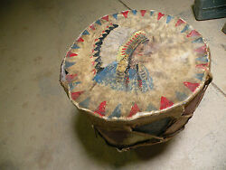 Antique Museum Piece Large Native American Pueblo Metal And Leather Drum Painted