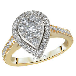 New Ladies 14k Two-tone Gold Cluster Pear Shaped Halo Diamond Engagement Ring