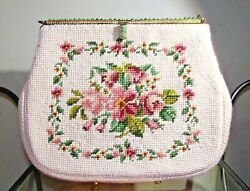 VINTAGE FLORAL NEEDLEPOINT PURSE FRENCH BAG SHOP MIAMI JADE BEADS GOLD CHAIN $129.95