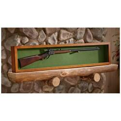 Gun Rifle Sword Display Case Wood Wall Mount Glass Panel Lid Cover - Brand New