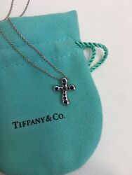 """And Co Platinum Elsa Peretti Blue Shapphire Cross Pendent Necklace 16"""""""