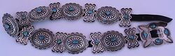 Old Native American Navajo Sterling Silver Turquoise Huge Scalloped Concho Belt