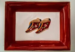 Lotus Slippers Trinket Ring Dish Asianera Artist Signed Chinese Bound Feet Shoes