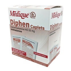 Medique Diphen Caplets Diphenhydramine Cold And Allergy Relief 500 Caplets