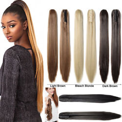Claw Clip Silk Straight Remy Human Hair Ponytail Thick Hair Extension 15-30