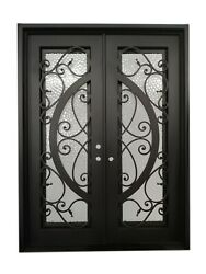 Barry Double Front Entry Wrought Iron Door Cubit Glass 72