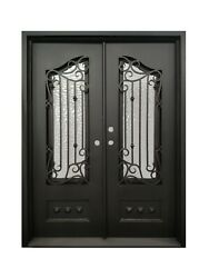 Bailey Double Front Entry Wrought Iron Door Cubit Glass 72