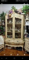 Vintage French Hand Painted Curio Chic Display Cabinet Case Ventrine