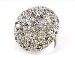 Round Diamond Curve Cluster Lady's Ring 14k White Gold 6.12Ct