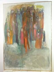Vintage Abstract Modernist Painting Mid Century New York 1950's Wela Imich