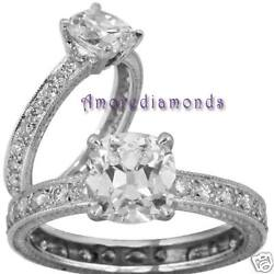 1.1 Ct G Vs2 Cushion Diamond Engagement Antique Solitaire Ring White Gold Size 5