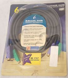 Iogear Minilink Bonded Kvm Cable Ps/2 6ft Model G 2l1001p New In Package