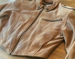 Womans Large Harley Davidson Motorcycle Jacket Leather Brown Lined