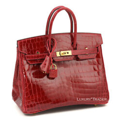 BRAND NEW BNIB EXOTIC HERMES BIRKIN 25cm CROC CROCODILE BRAISE GOLD HARDWARE!