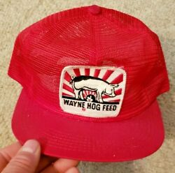RARE Vintage K BRAND PRODUCTS USA Made Trucker Hat Baseball Cap WAYNE HOG FEED