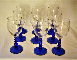 Libby Wine Glasses With Clear Bowls And Unique Metropolis Blue Glass Stems