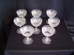 Set Of 8 Hand Cut Leaded Crystal Champagnes Circa 1925