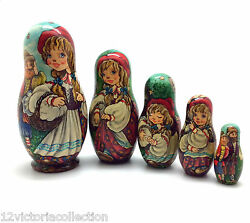 Little Red Riding Hood Fairytale Nesting Dolls Russian Handcrafted Collectable