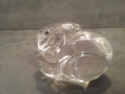 Steuben Clear Art Crystal Ram At Rest Hand Cooler, Paperweight, Figurine Signed