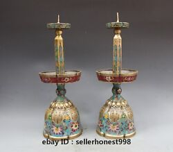 Chinese Bronze Cloisonne Royal Candle Holder Statue Enamel Candlestick Pair