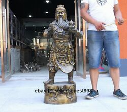 50 Chinese Bronze Carving Dragon Guan Gong Warrior God Guan Yu Mammon Statue