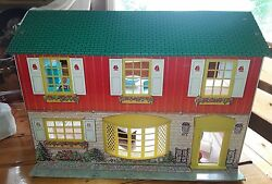 Vintage Wolverine Tin Litho Dollhouse And 17 Pieces Furniture Vintage Toy