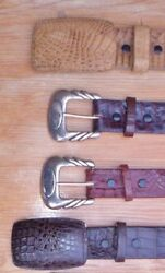 Genuine Full Quill Ostrich And Crocodile Belts, Custom Made, 33, 39, And 41