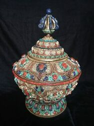 Masterpiece Silver Gulpa Offering/storage Jar Inlaid With Lapis Coral Turquoise