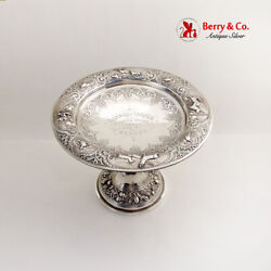 Ornate Repousse Engraved Yachting Trophy Figural Foot 925 Silver 1884 Glasgow