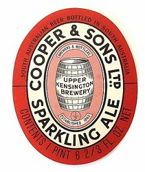 Cooper And Sons Ltd Sparkling Ale Beer Label Australia One Pint 6-2/3 Oz