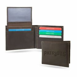 New England Patriots Real Brown Leather Billfold Wallet 2 Cash Slots, Id Flap