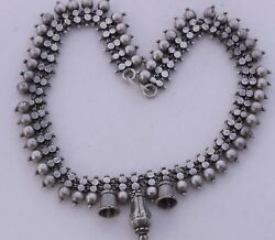 Heavy Big Sterling Silver Bell Link Necklace Chain Ethnic India Unique And Unusual