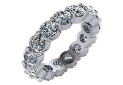5.3 Ct F Si Round Diamond Eternity Wedding Ring 18k White Gold Made In Usa Size5